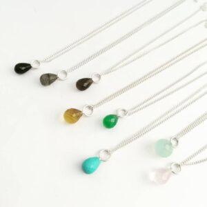 semi precious gem drop sterling silver pendant