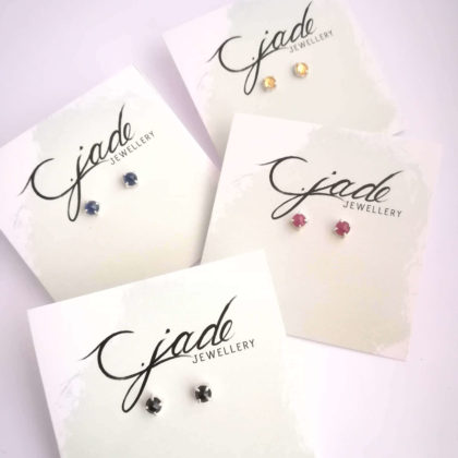 essential semi precious gem stone stud earrings