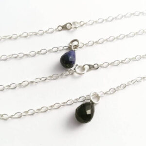 semi precious gem drop sterling silver bracelet